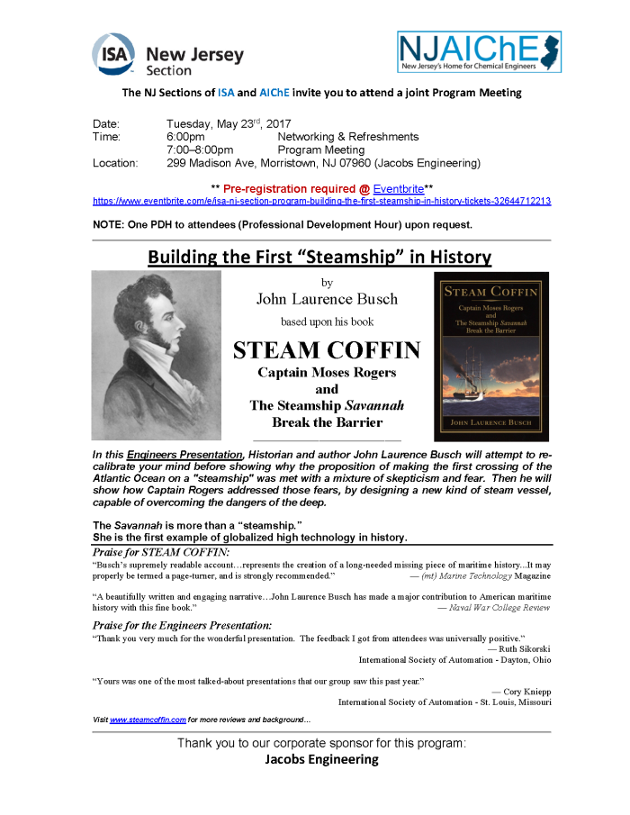 ISA-AIChE of NJ Invite - Steam Coffin - May 23-2017