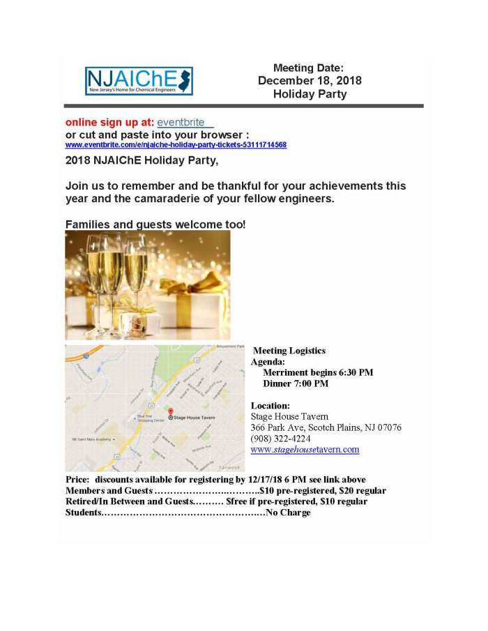 AIChE Meeting December 18, 2018